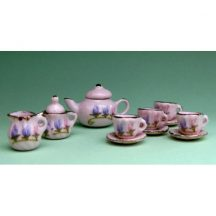 Dollhouse scale tea set (freesias on pink)
