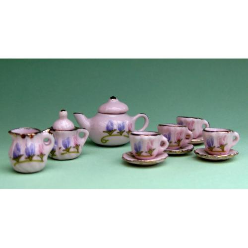 Dollhouse scale tea set (freesias on pink)
