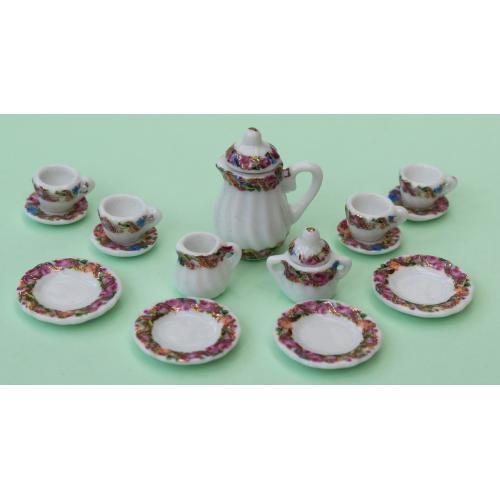 Dollhouse scale tea set (multifloral)