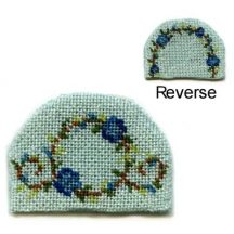 Dollhouse needlepoint teacosy kit - Flower ring blue