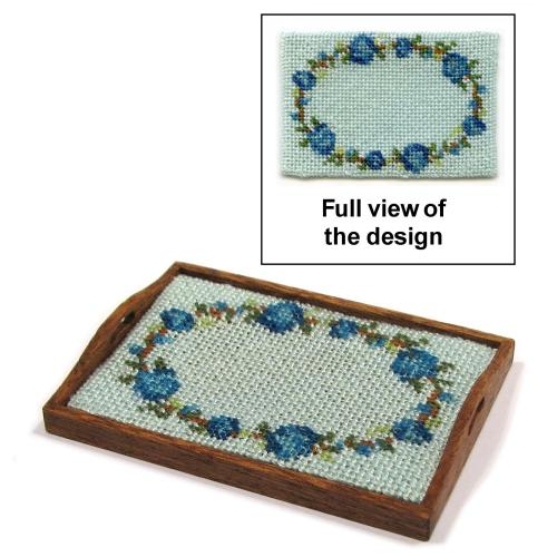 Dollhouse needlepoint tray cloth kit - Flower ring blue