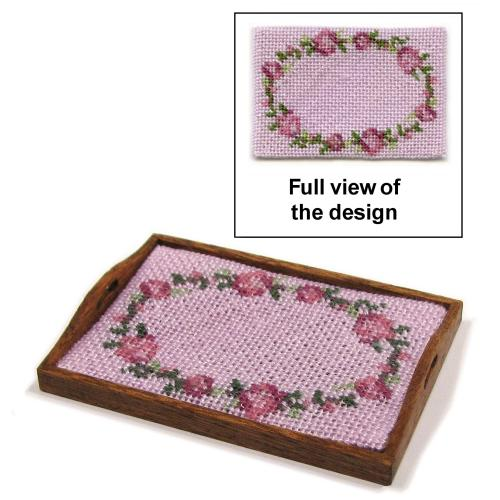 Dollhouse needlepoint tray cloth kit - Flower ring pink