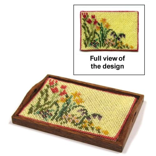 Dollhouse needlepoint tray cloth kit - Spring Blooms