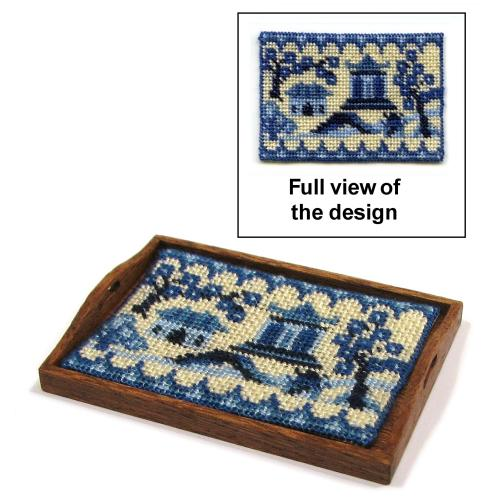 Dollhouse needlepoint tray cloth kit - Willow Pattern