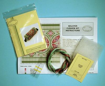 Miniature needlepoint tutorial - contents of a bolster cushion kit