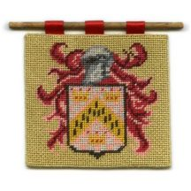 Chevron dollhouse needlepoint wallhanging