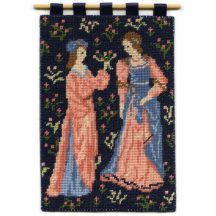 Cluny Women dollhouse needlepoint wallhanging