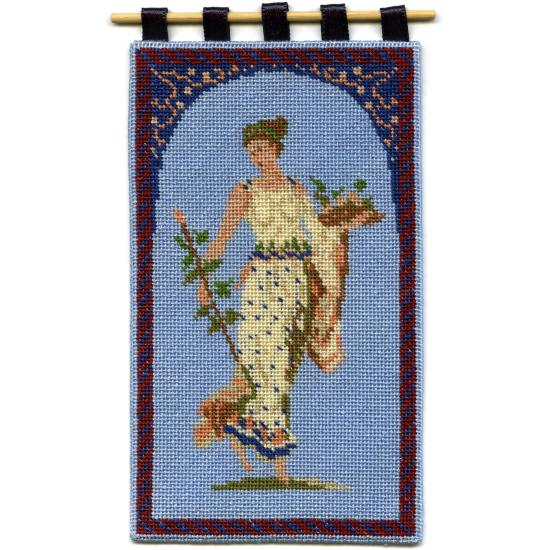 Grecian Lady dollhouse needlepoint wallhanging
