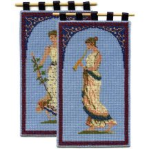 Grecian Lady & Musician double pack dollhouse needlepoint wallhanging kits
