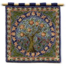 Orange Tree dollhouse needlepoint wallhanging