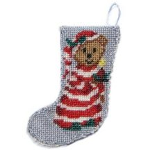 Dollhouse needlepoint Christmas stocking kit - Bedtime Bear