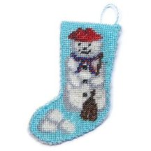 Dollhouse needlepoint Christmas stocking kit - Snowman
