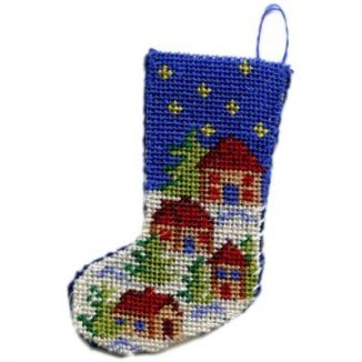 Dollhouse needlepoint Christmas stocking kit - Snowy Village