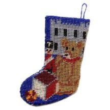 Dollhouse needlepoint Christmas stocking kit - Toys For Boys