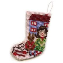 Dollhouse needlepoint Christmas stocking kit - Toys For Girls