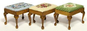Miniature needlepoint tutorial - three other designs of the rectangular stool