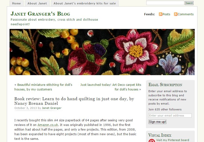 Screen shot of Janet's blog front page