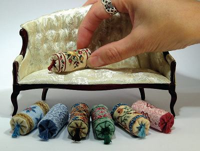 Dollhouse needlepoint bolster cushions