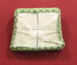 Miniature needlepoint tutorial - all sides of gauze glued to pad