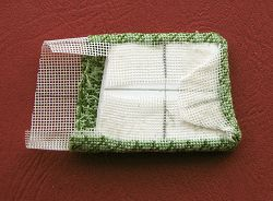 Miniature needlepoint tutorial - glue sloping side to the pad