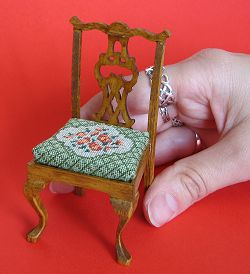 Miniature needlepoint tutorial - the completed chair