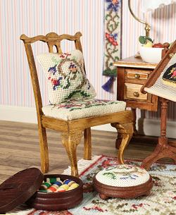Miniature needlepoint tutorial - A miniature needlepoint design on a chair seat