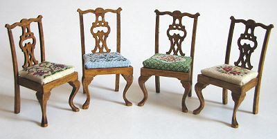 Miniature needlepoint tutorial - the 4 chair designs
