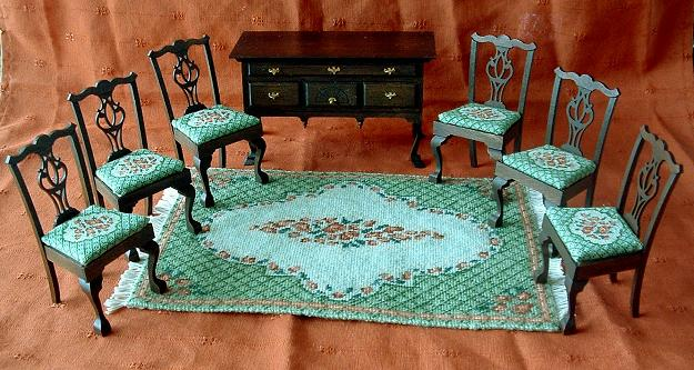 """Barbara (green)"" dollhouse needlepoint large carpet with 6 matching chairs"
