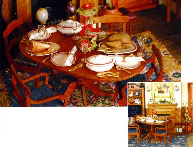 """Elizabeth"" dollhouse needlepoint carpet in the dining room"