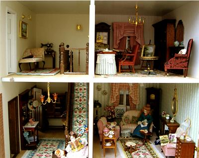 "Four rooms in Janet B's dollhouse, with several versions of the "" Carole"" design"