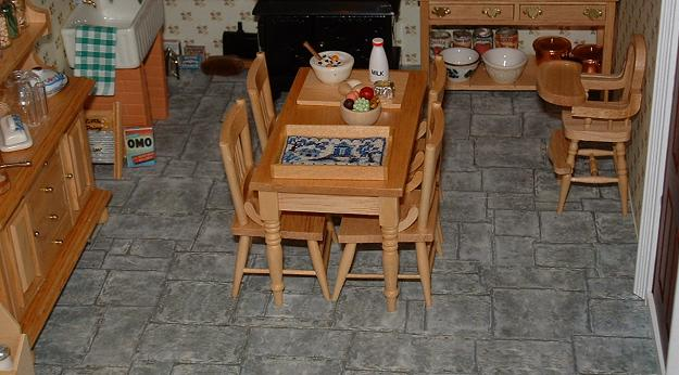 """""""Willow Pattern"""" traycloth in the tray on the table"""