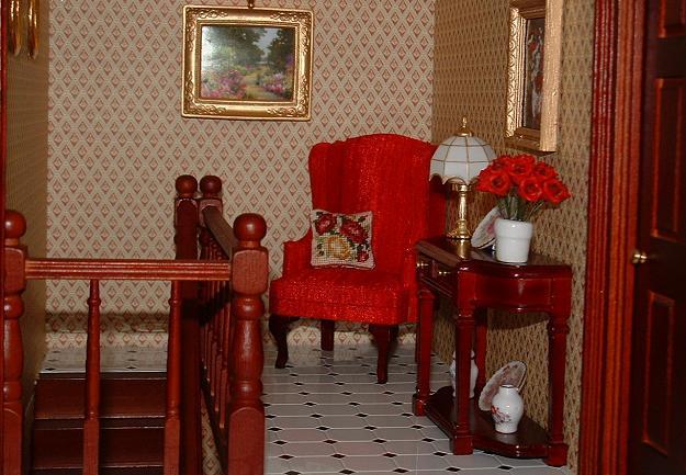 """""""Summer Roses"""" cushion on the armchair"""