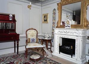 """Judith"" design bellpull, bolster cushion and footstool"