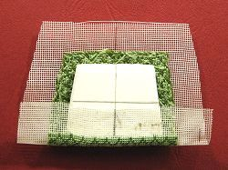 Miniature needlepoint tutorial - glue gauze to the pad