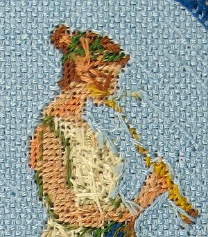 Dollhouse needlepoint tutorial - wallhanging detail, back view