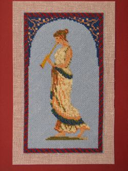 Dollhouse needlepoint tutorial - wallhanging trimmed, front view