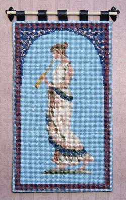 Dollhouse needlepoint tutorial - wallhanging, 'Grecian Musician', completed
