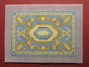 How to hem rectangular-shaped doll's house needlepoint carpets