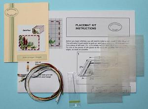 Miniature needlepoint tutorial - contents of a placemat kit