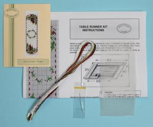 Miniature needlepoint tutorial - contents of a table runner kit