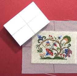 Miniature needlepoint tutorial - preparing to mount the stitching on the cushion pad