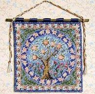 Dollhouse needlepoint tutorial - wallhanging, hanging on plaited thread