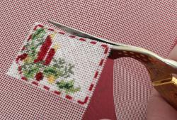 Miniature needlepoint tutorial - cut out the stitched area