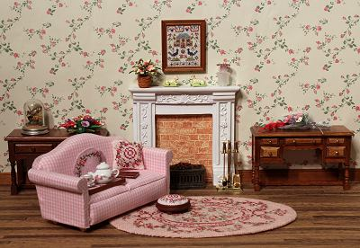Dollhouse room with carpet Kate (pink)