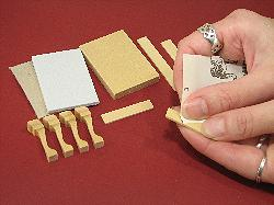 Miniature needlepoint tutorial - Lightly sand all the wooden components