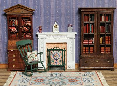 Dollhouse needlepoint tutorial - a room with a firescreen in the fireplace