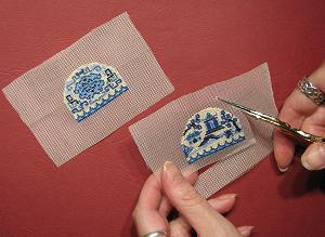 Miniature needlepoint tutorial - trim the unworked gauze