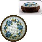 """Dollshouse embroidery footstool kit - """"Flower Ring (blue)"""""""