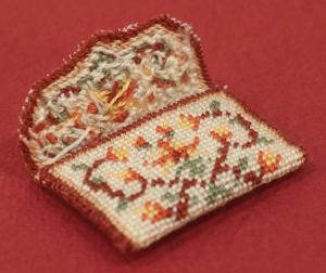 Miniature needlepoint tutorial - use left over thread to lightly stuff the bag