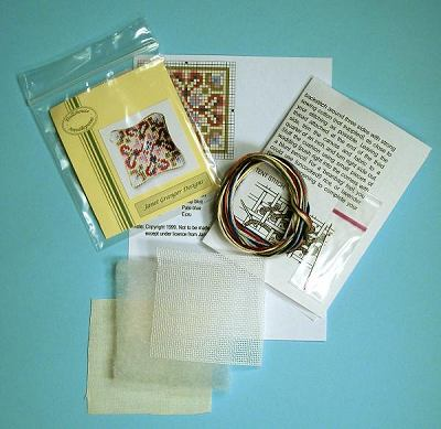 Miniature needlepoint tutorial - contents of a cushion kit